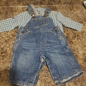 Baby Gap denim overalls with plaid onsie
